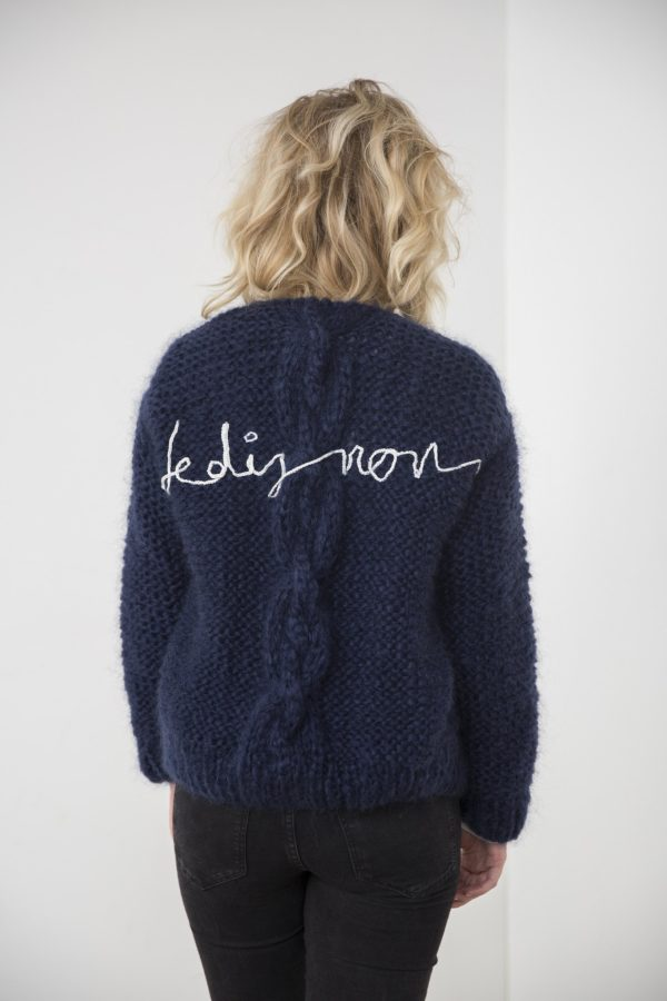 Handmade turtle neck pull-over // Classy navy blue