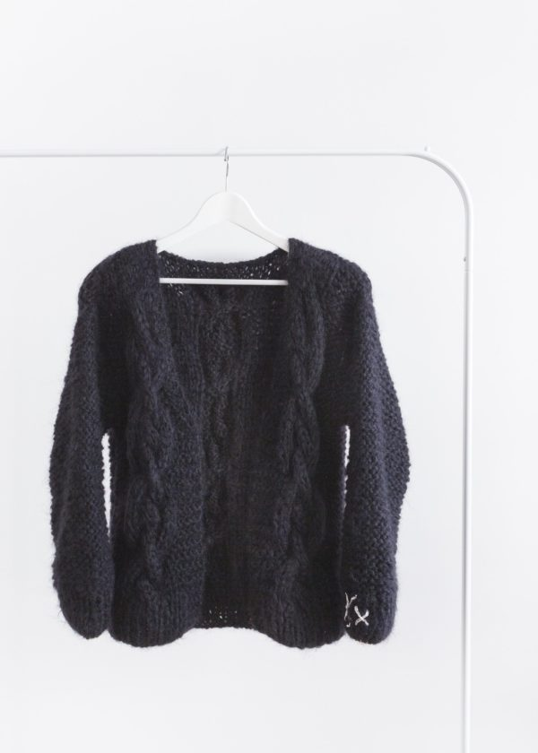 Handmade cardigan with chunky cable // dark black