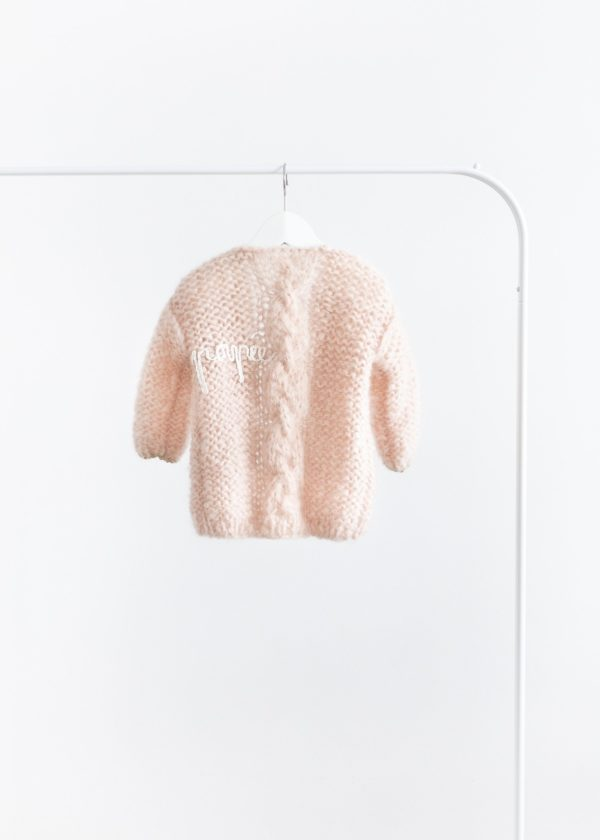 Petite handmade cardigan with chunky cable // Old rose
