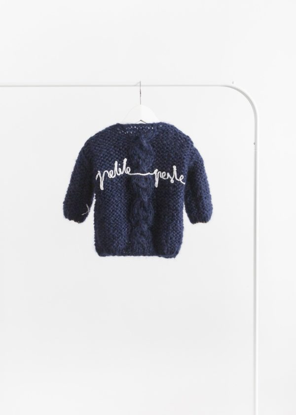 Petite handmade cardigan with chunky cable // Navy blue