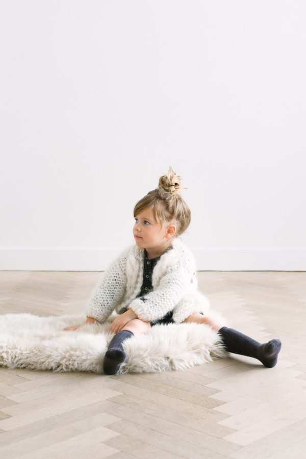 Petite handmade cardigan with chunky cable // white